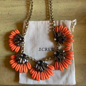 J. Crew Statement Necklace Coral and Taupe color